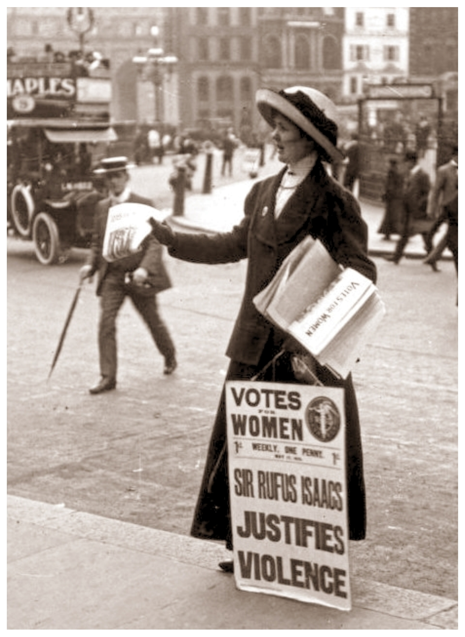 Black and white photo of a suffragette